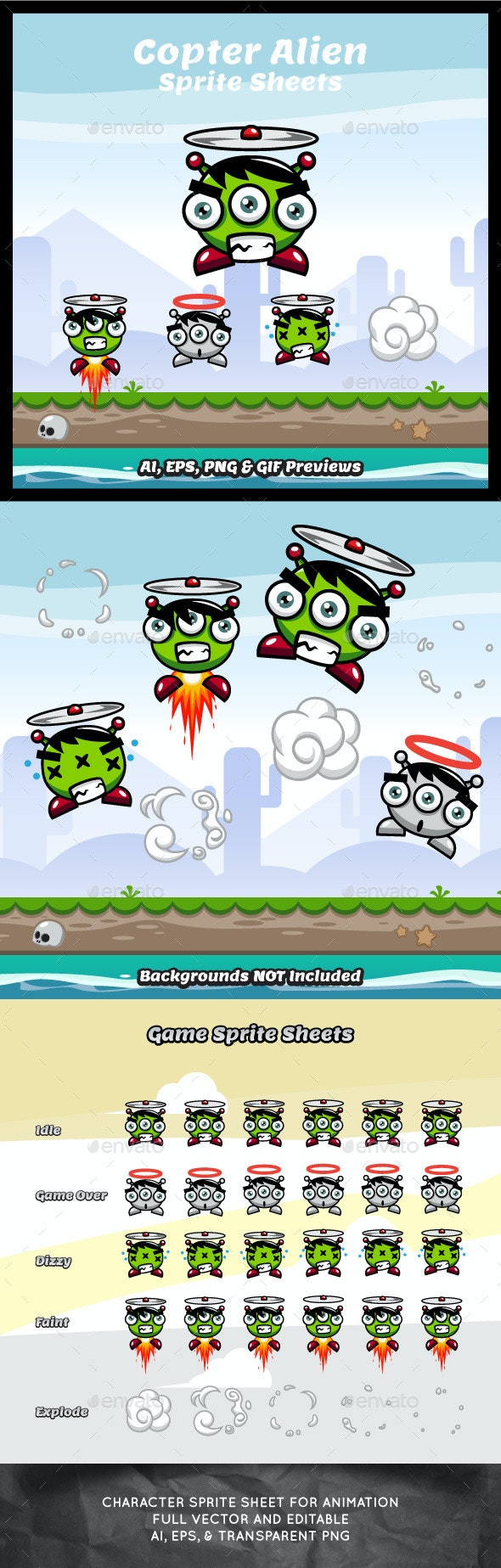 Copter Alien Game Character Sprite Sheets - Sprites Game Assets