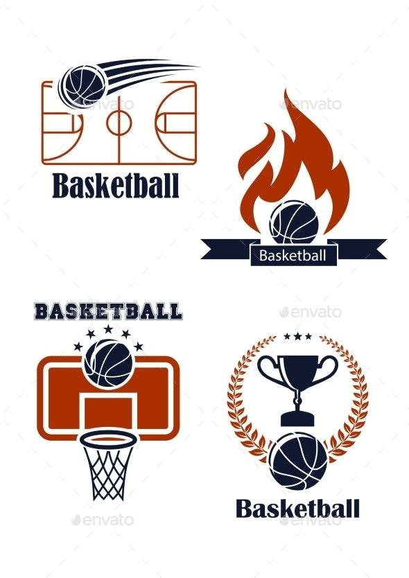 Basketball Sport Emblems or Logos - Sports/Activity Conceptual