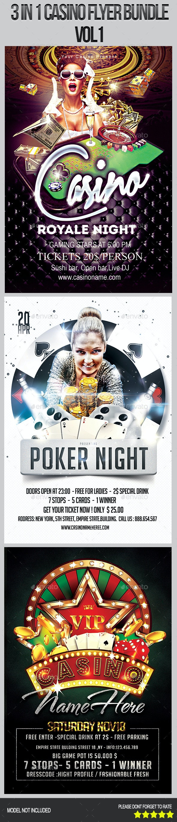 3 in 1 Casino Flyer Bundle  - Clubs & Parties Events