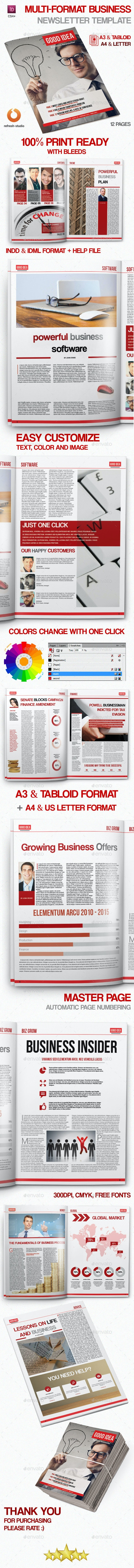 Multi-format Business Newsletter Template - Newsletters Print Templates
