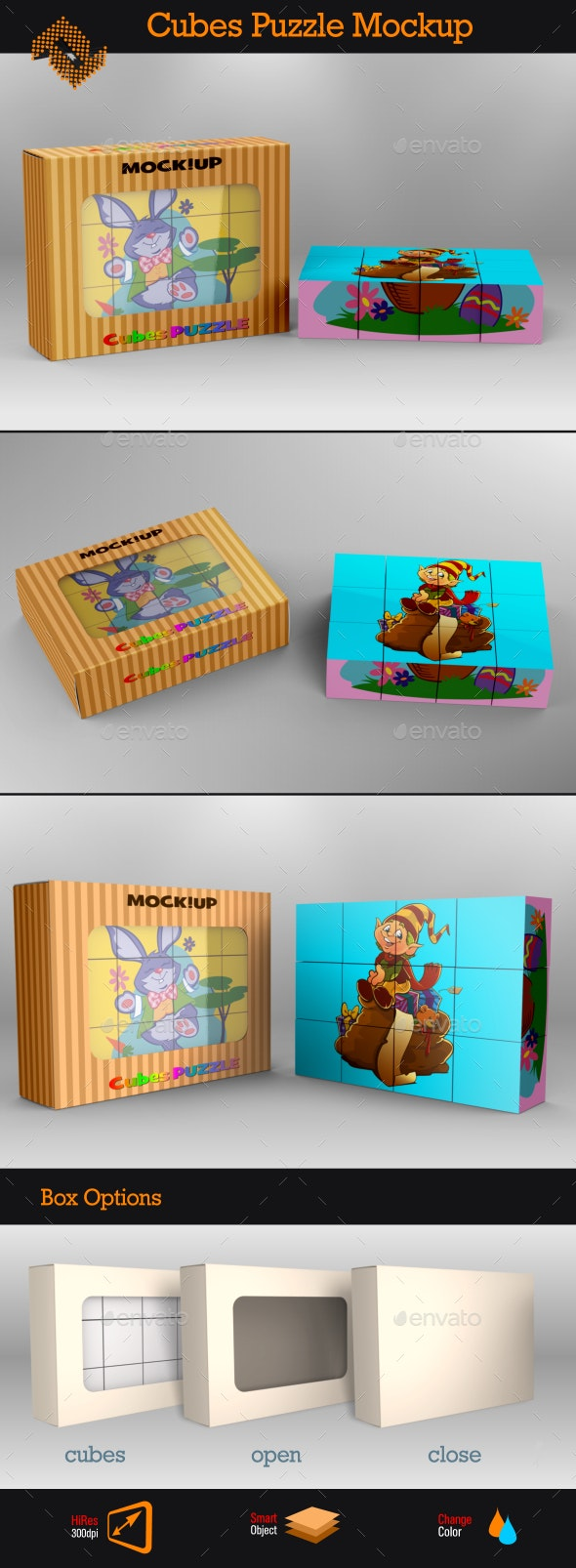 Cubes Puzzle Mockup - Packaging Product Mock-Ups