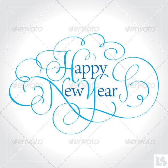 Happy New Year Hand Lettering (vector) - New Year Seasons/Holidays