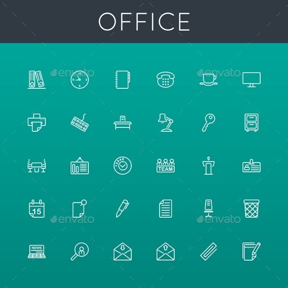 Vector Office Line Icons - Business Icons