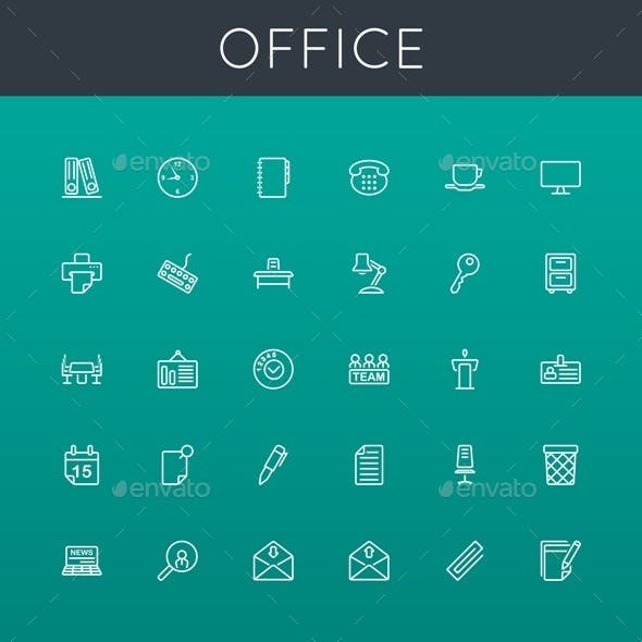 Vector Office Line Icons