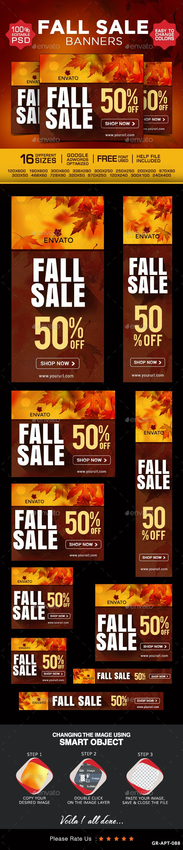 Fall Sale Banners - Banners & Ads Web Elements
