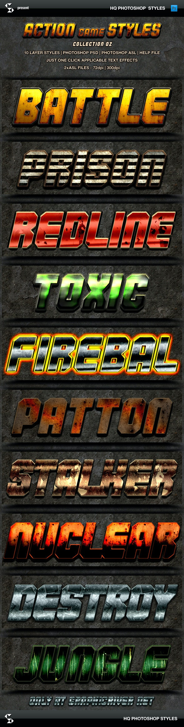 Action Game Styles - Collection 2 - Text Effects Styles