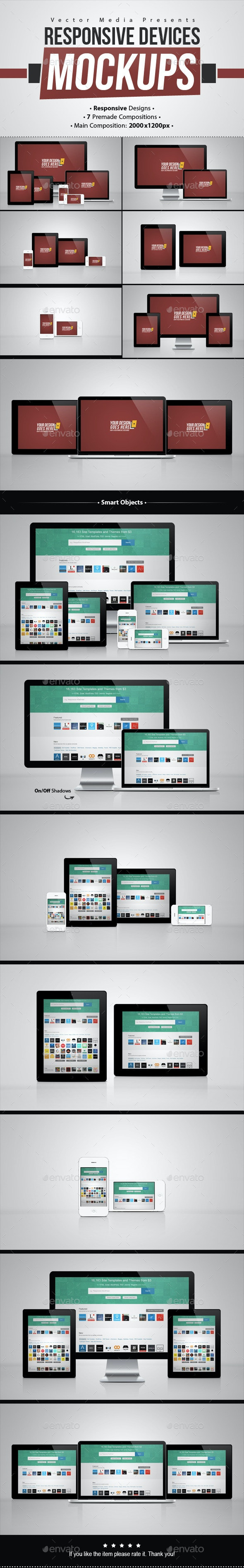 Responsive Devices - Mock-ups - Multiple Displays