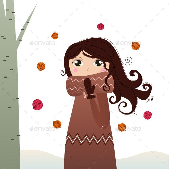 Autumn Lady in Coat and Scarf - People Characters