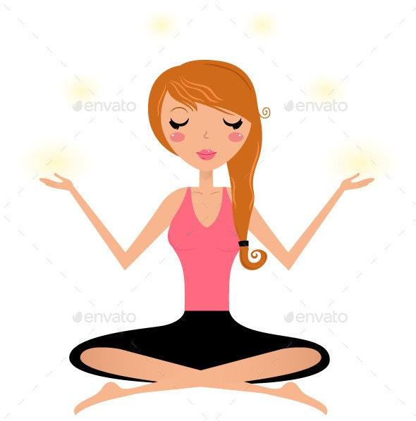Woman Doing Yoga Asana  - Characters Vectors