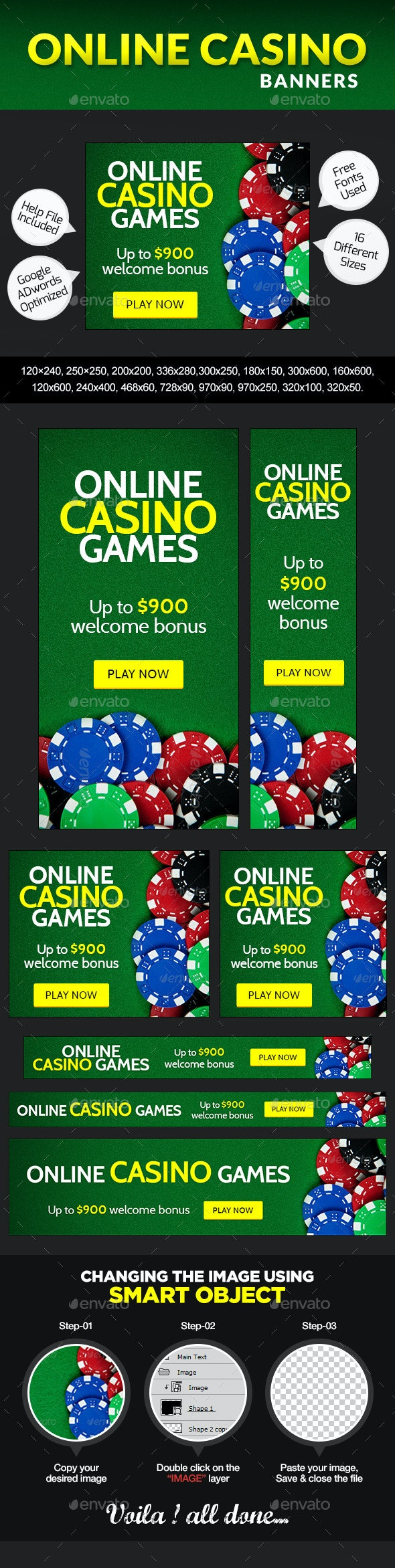 Casino Banner Design - Banners & Ads Web Elements
