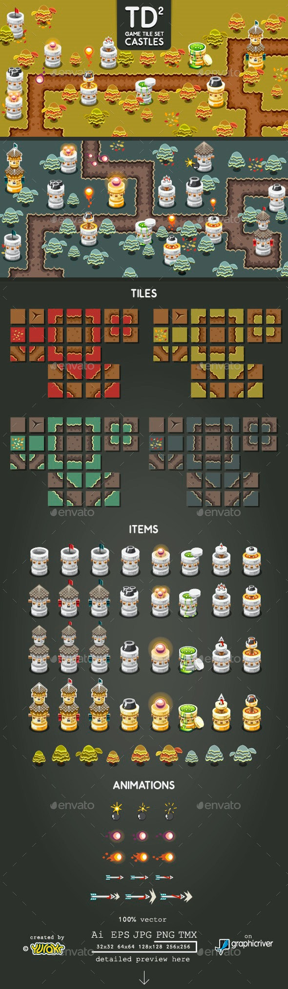 Tower Defence Game Tile Set Two - Tilesets Game Assets