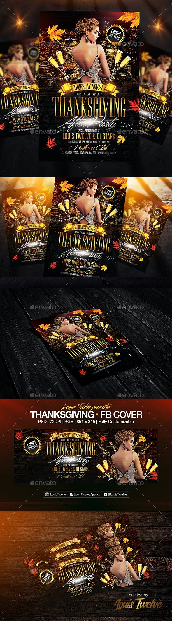 Thanksgiving After Party Flyer + FB Cover - Holidays Events