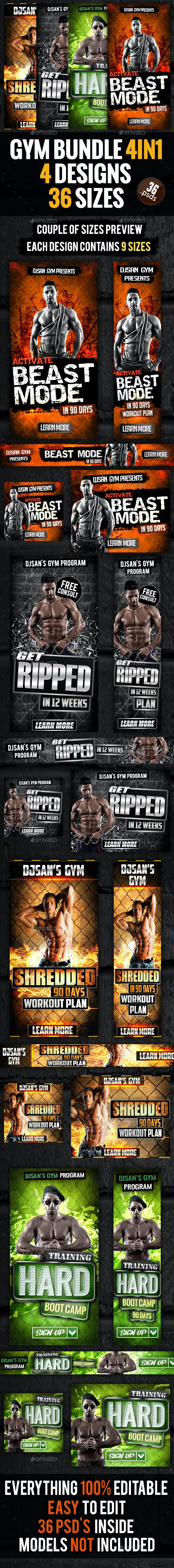 Gym and Workout Bundle 4in1 - Banners & Ads Web Elements