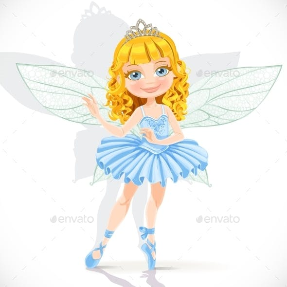 Fairy Girl in Tiara and Blue Dress