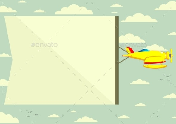 Plane with a Poster. Vector - Travel Conceptual