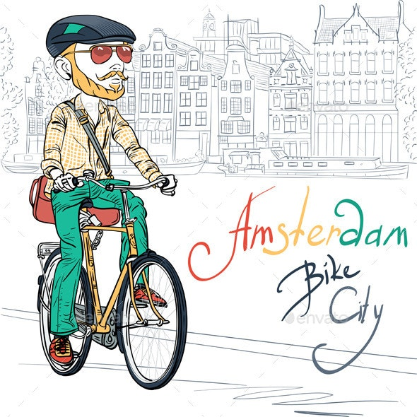 Vector trendy hipster bearded boy on a bike - People Characters