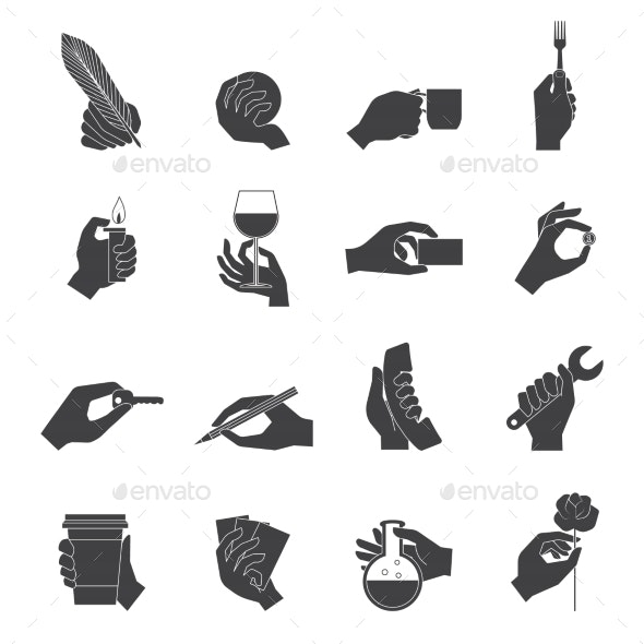 Hand Holding Objects Black Set - Web Technology