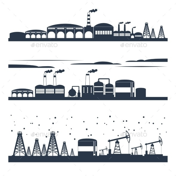 Industrial City Skyline Banners - Buildings Objects