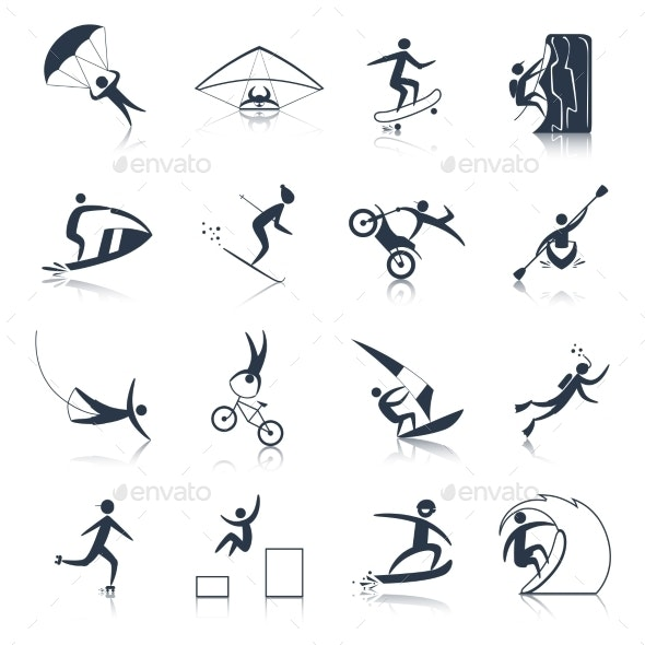 Extreme Sports Icons Black - Miscellaneous Icons