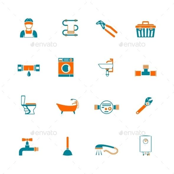 Plumbing Icons Set - Web Elements Vectors