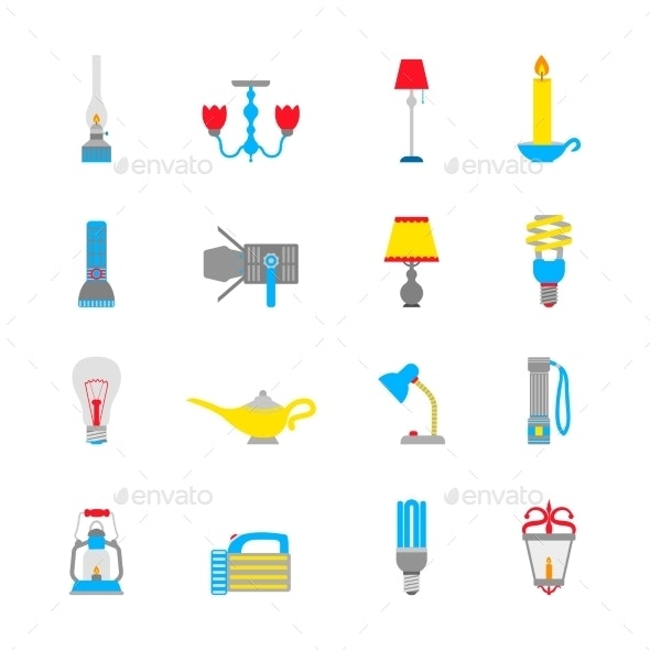 Flashlight and Lamps Icons - Web Elements Vectors