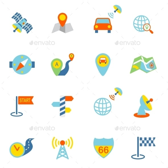 Mobile Navigation Icons Flat - Business Icons