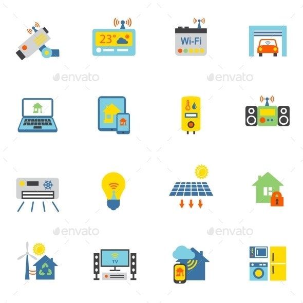 Smart Home Icons Flat - Business Icons