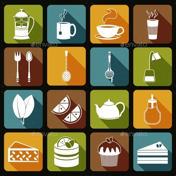 Tea Icons Set Flat - Food Objects