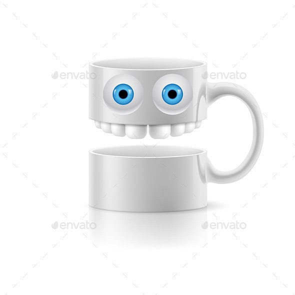 White Mug of Two Parts with Two Eyes and Teeth - Web Elements Vectors