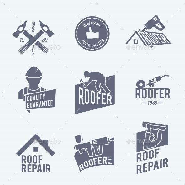 Roofer Label Set Grey - Industries Business