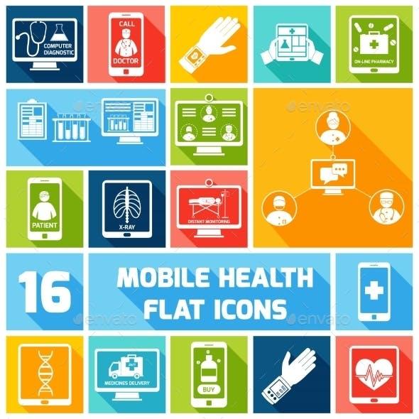 Mobile Health Icons Set Flat