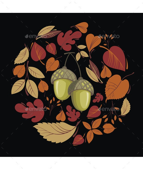 Vector Card with Autumn Leaves and Acorn - Backgrounds Decorative