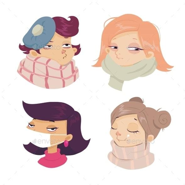 Cartoon of Girls with Cold Symptoms  - Health/Medicine Conceptual