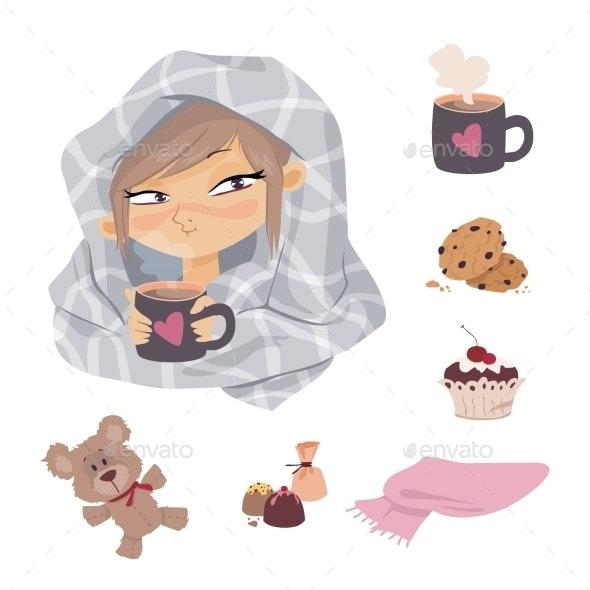 Kid Illness Icons - Health/Medicine Conceptual