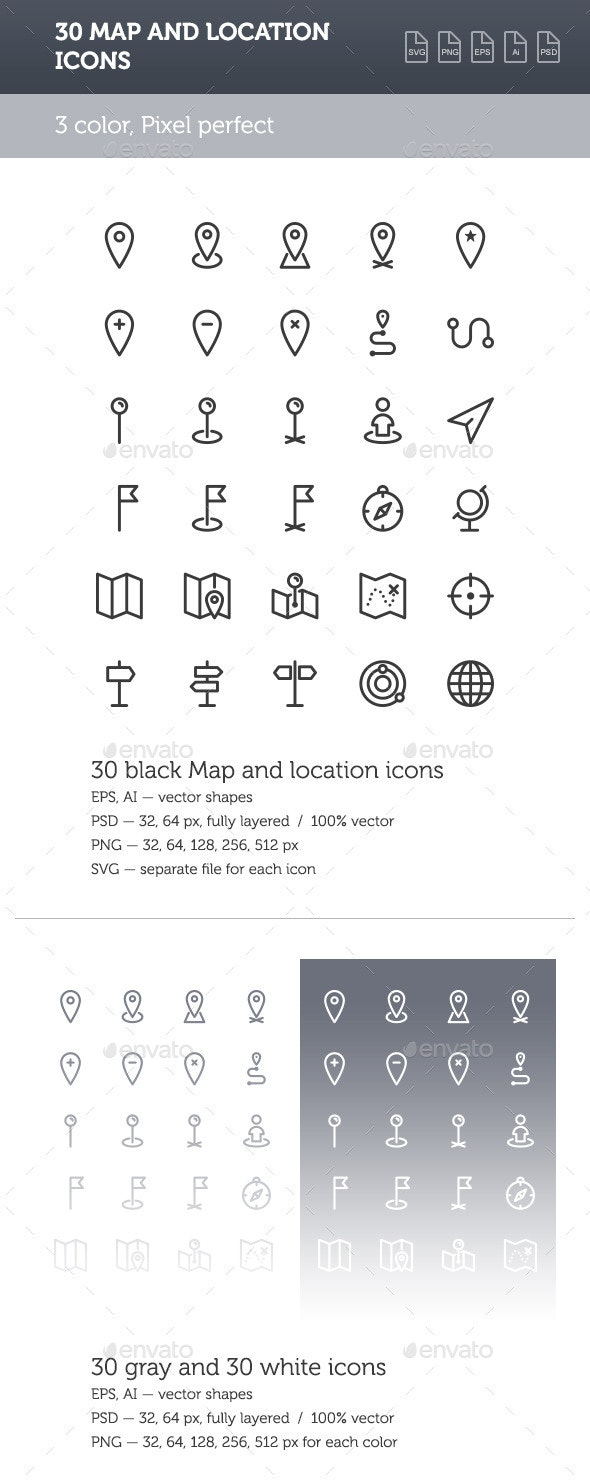 Map and Location Icon Set - Miscellaneous Icons