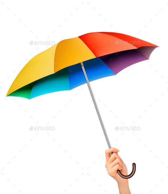 Hand with a Rainbow Umbrella - Seasons Nature