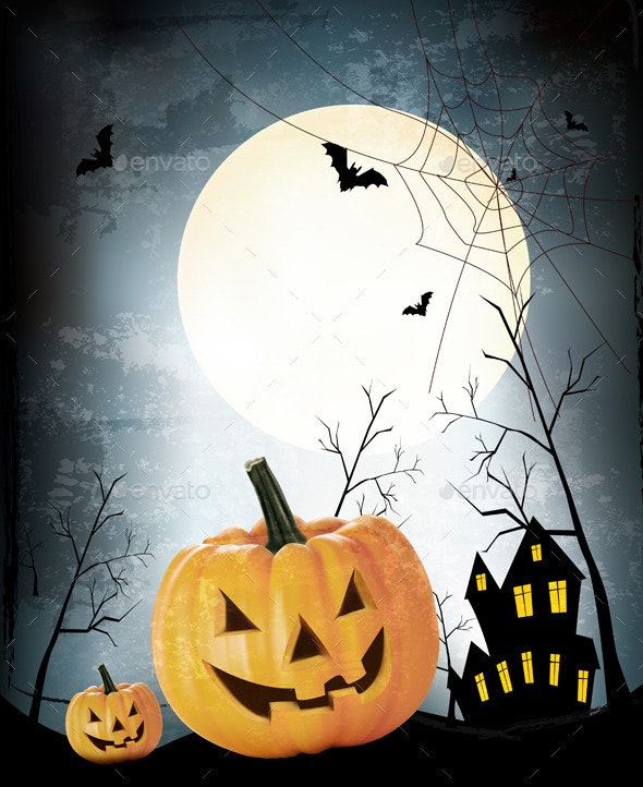 Halloween Party Background with Pumpkins - Halloween Seasons/Holidays