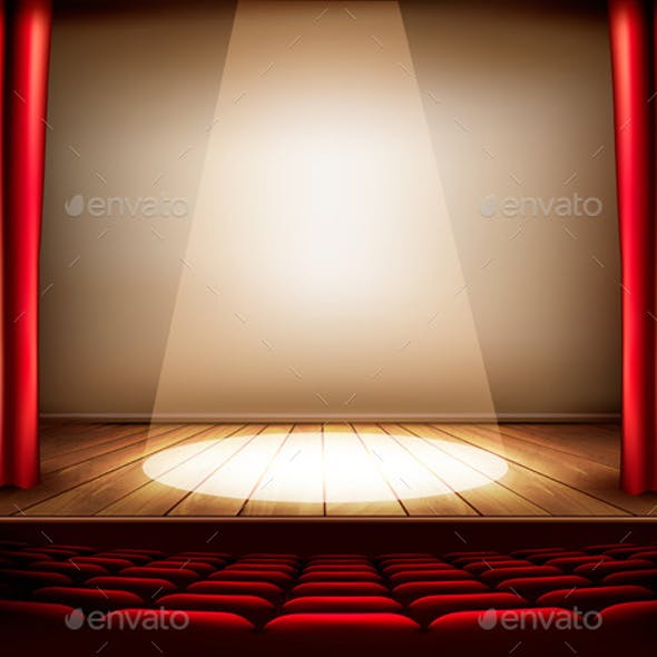 A Theater Stage with a Red Curtain Seats