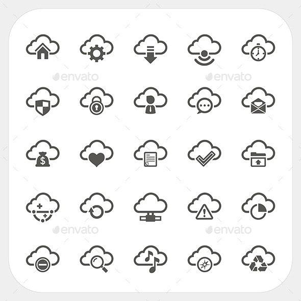 Cloud Icons Set - Web Technology
