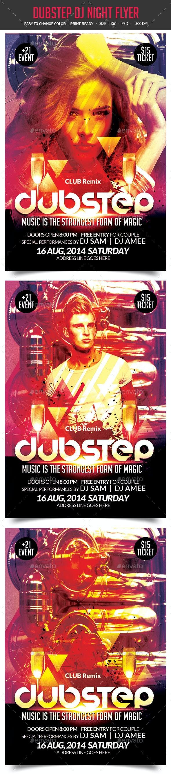 Dubstep DJ Night Flyer - Clubs & Parties Events