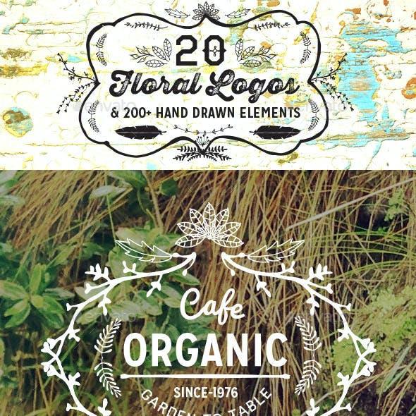 20 Vintage Hand Drawn Floral Logos