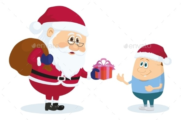 Santa Claus and Boy - Christmas Seasons/Holidays