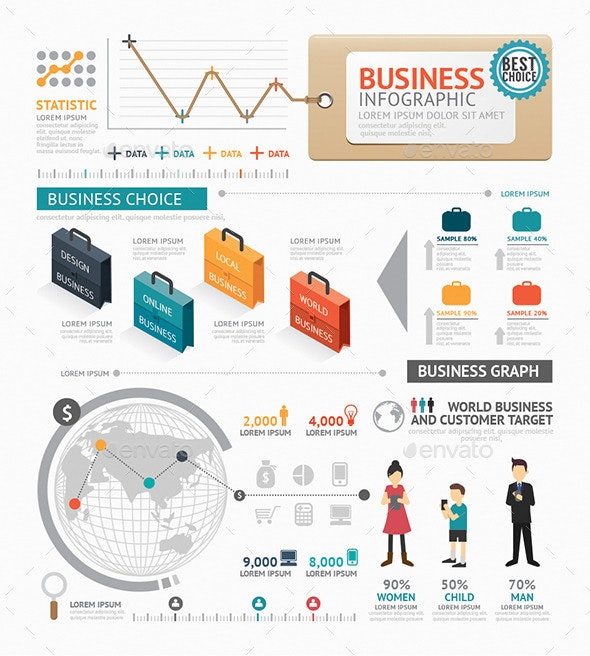 Infographic Business World Template Design - Infographics
