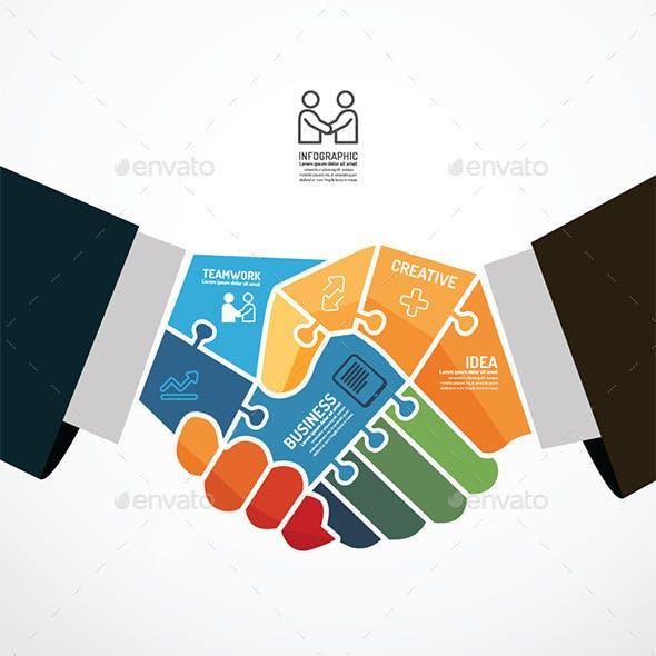 Businessman Handshake Jigsaw Template