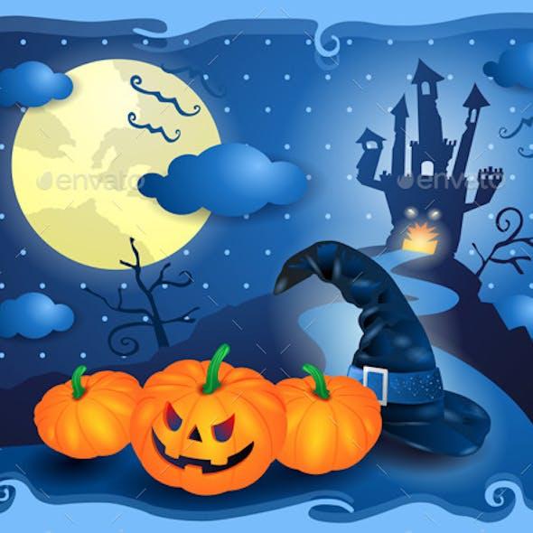 Halloween Background in Blue