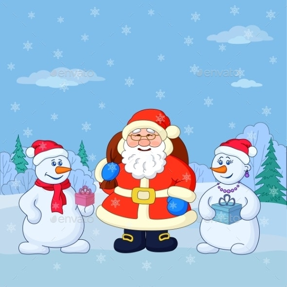 Santa Claus and Snowmans in a Winter Forest - Christmas Seasons/Holidays
