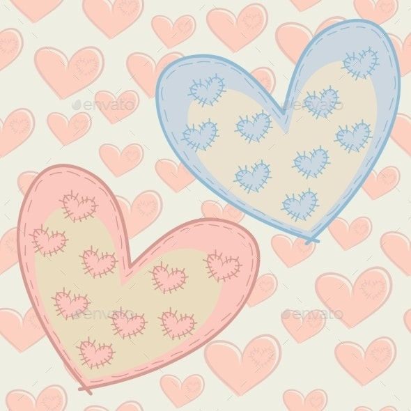 Seamless Pattern with Hearts - Backgrounds Decorative