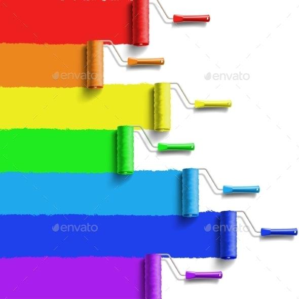 Rainbow Roller Brush - Backgrounds Decorative
