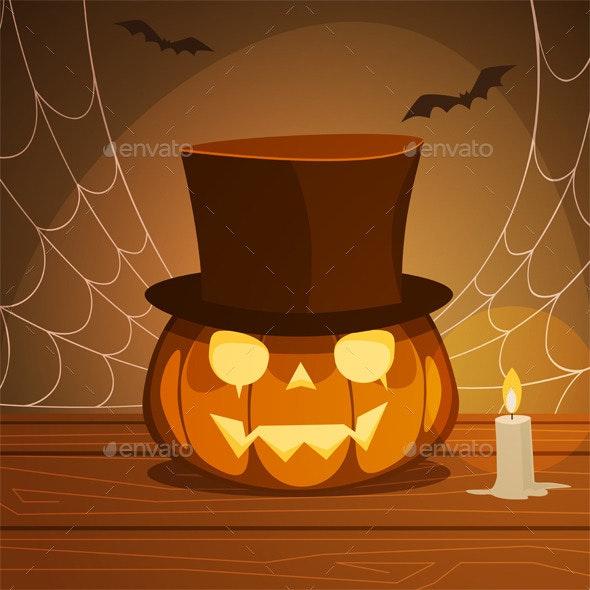 Pumpkin With Hat - Halloween Seasons/Holidays