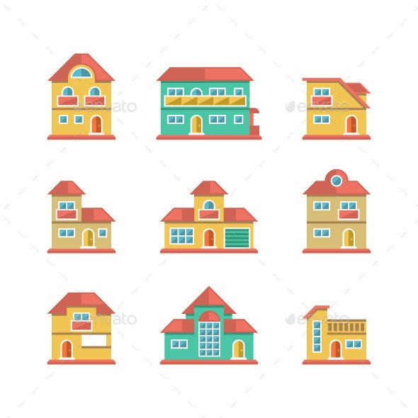 Set Flat Icons of Houses and Buildings - Buildings Objects